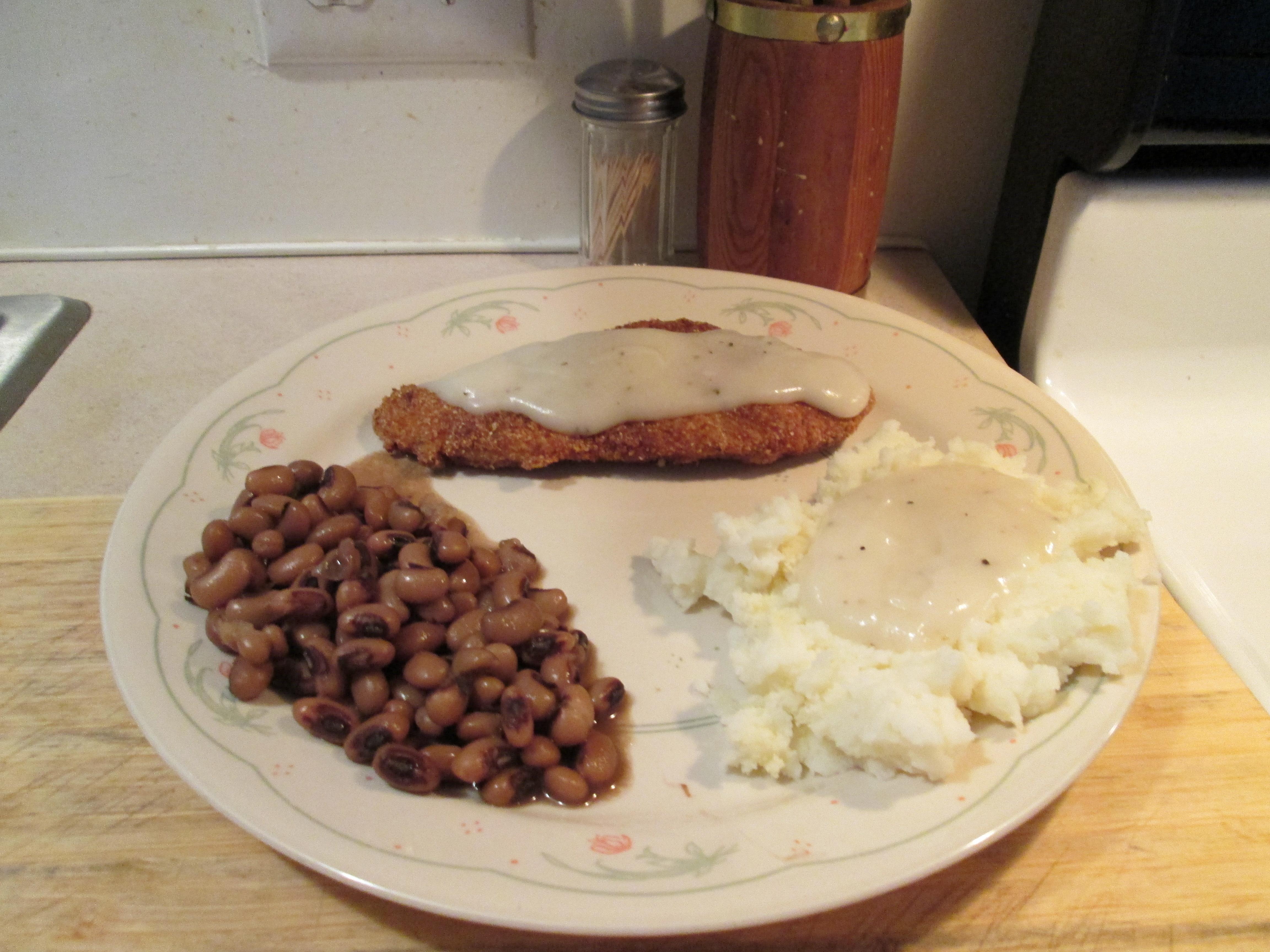 Chicken Fried Chicken w/ White Peppered Gravy, Blackeye Peas, Mashed ...