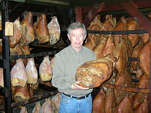 A hickory smoked country ham being displayed