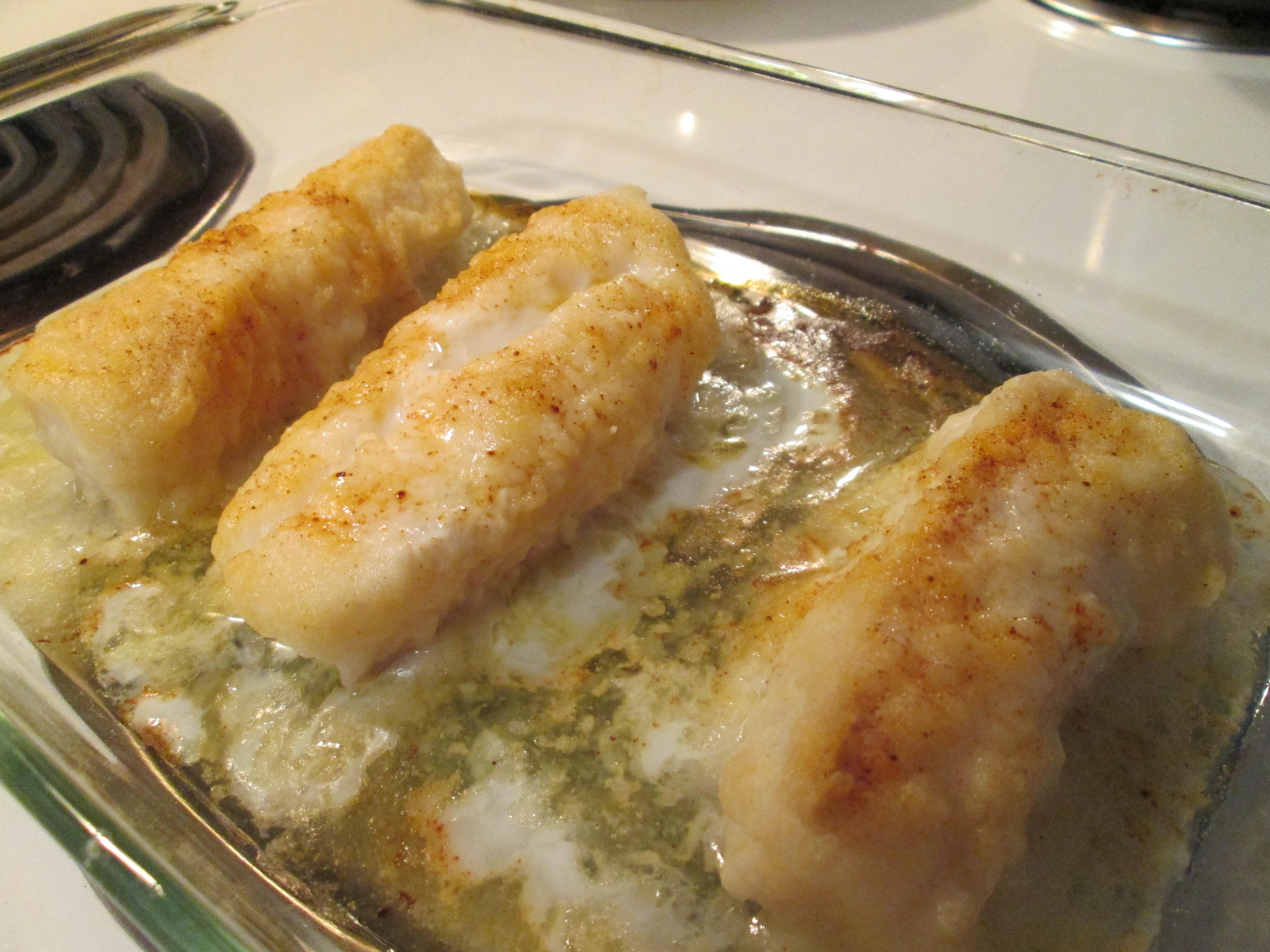 Lemon baked cod w red potato wedges seasoned blackeyed for Bake cod fish