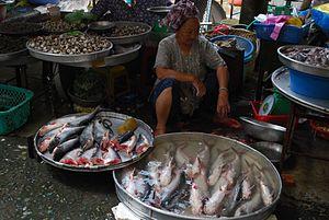 Basa fish Vinh Long market, Việt Nam