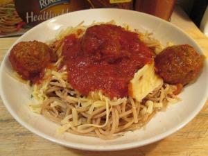Spaghetti and turkey meatballs