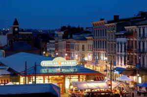 Findlay Market, one of the oldest public markets in the country, offers meats, cheeses, and other refrigerated foods at counters on the inside and fresh produce stands on the outside.