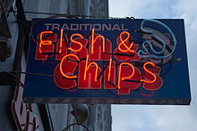 A Neon sign for Fish and Chips in London