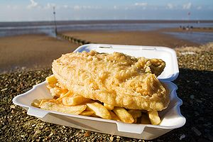 Fish and chips in Norfolk, England