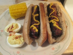 Brats, deviled eggs, corn on the cob 002