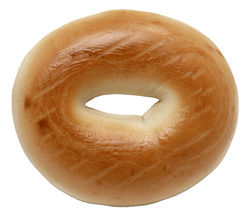 A plain commercially produced bagel