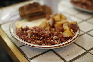 An order of corned beef hash.
