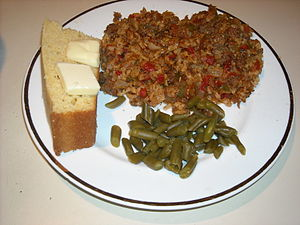 Texas hash with cornbread and green beans.
