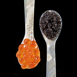 Salmon roe (left) and sturgeon caviar (right)