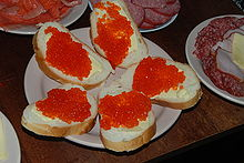 Trout roe with bread