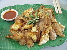Fried oyster with egg and flour