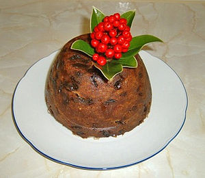 This Christmas pudding is decorated with skimmia rather than holly