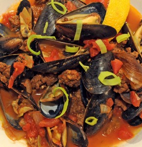 Wild Idea Buffalo Mussels in Tomato Broth with Buffalo Chorizo