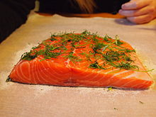 Salmon prepared for curing