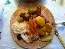Christmas Dinner in the UK - pigs in blankets at top right of plate