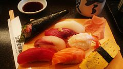 Different types of nigiri-zushi and a temaki