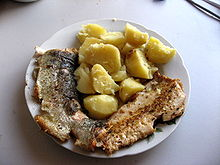 Rainbow trout and potatoes