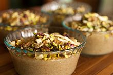 Caraway Pudding: ground rice, cinnamon, caraway spices, and nuts