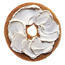 Cream cheese on a bagel