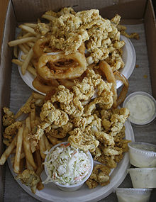 Fried clams piled high