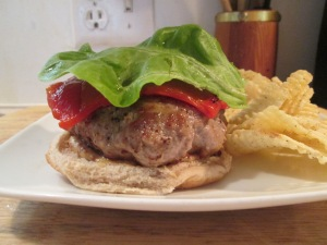 Turkey Burger, muenster cheese bib lettuce 003