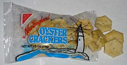 An individual serving package of oyster crackers