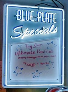 A typical blue-plate special board, from the Red Arrow Diner in Manchester, New Hampshire