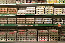 Eggs for sale at a grocery store