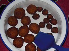 Falafel balls of different sizes. Made from chickpeas.