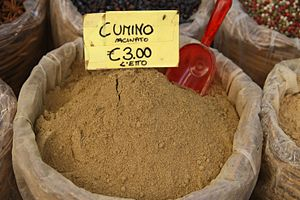 Ground cumin on display at the market
