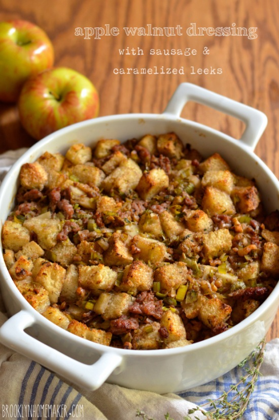 apple walnut dressing with sausage and caramelized leeks | Brooklyn Homemaker