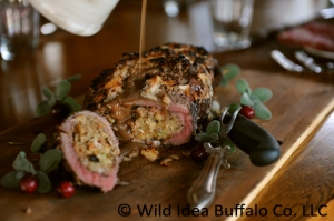 Stuffed Bison Roast with Red Wine Gravy