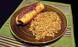 A chimichanga with rice