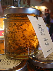 A jar of mint jelly