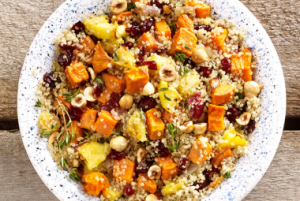 Quinoa Stuffing with Sweet Potatoes, Apples & Hazelnuts