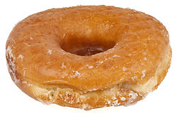 A glazed yeast-raised ring doughnut
