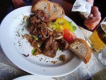 Fried pork livers and onions