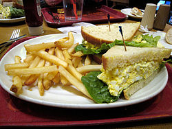 Egg salad sandwich with french fries