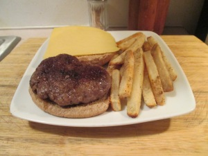 Ground Pork Burger Fries 001