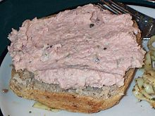 Ham salad spread on wheat bread