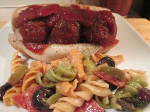 Turkey Meatball Mini Sub  Italian Pasta Salad 004