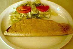 A huitlacoche (corn smut) quesadilla