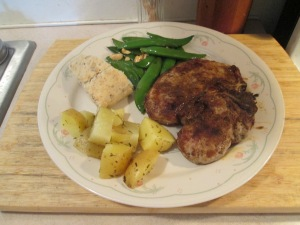 Cumin Spiced Pork Chops Potatoes Snap Peas 004