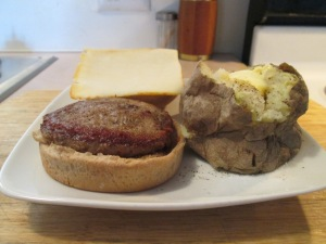 Muenster Cheese Turkey Burger w Baked Potato 005