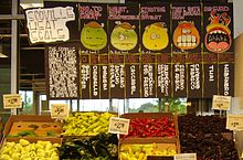 Pepper stand at market in Texas, with Scoville scale.