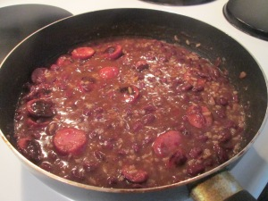 Red Beans and Rice w Hardwood Smoked Turkey Sausage and Cornbrea 002