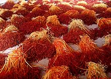 Saffron – valuable stigmas, or threads, are painstakingly plucked, piled, and dried