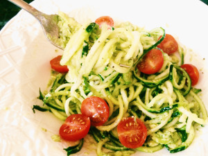 zucchini noodles and avocado basil cream sauce