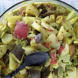 A coarse cut potato salad