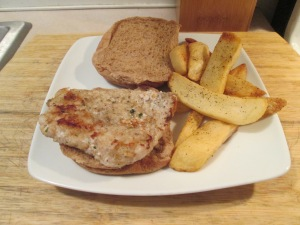 Cubed Pork Steak Sandwich w Baked Fries 004